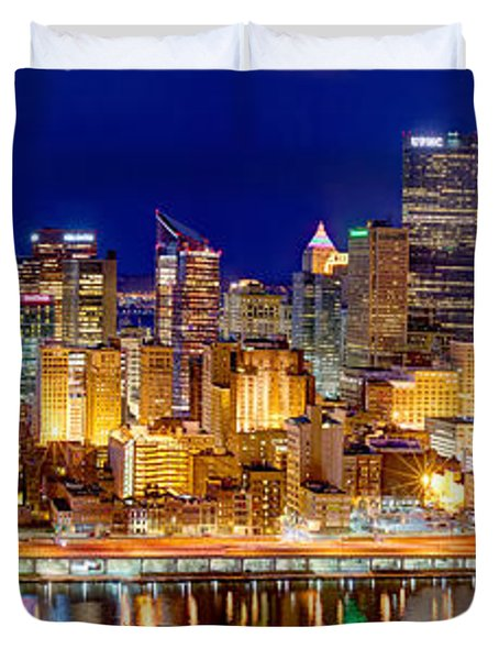 Pittsburgh Pennsylvania Skyline at Night Panorama Duvet Cover by Jon Holiday