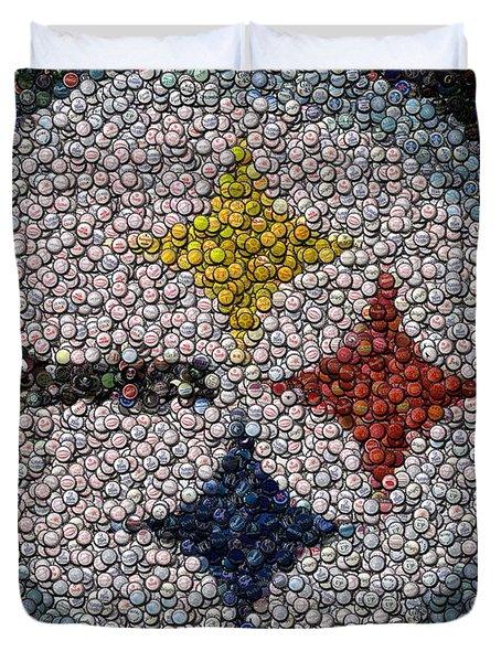 Pittsburgh Steelers  Bottle Cap Mosaic Duvet Cover by Paul Van Scott