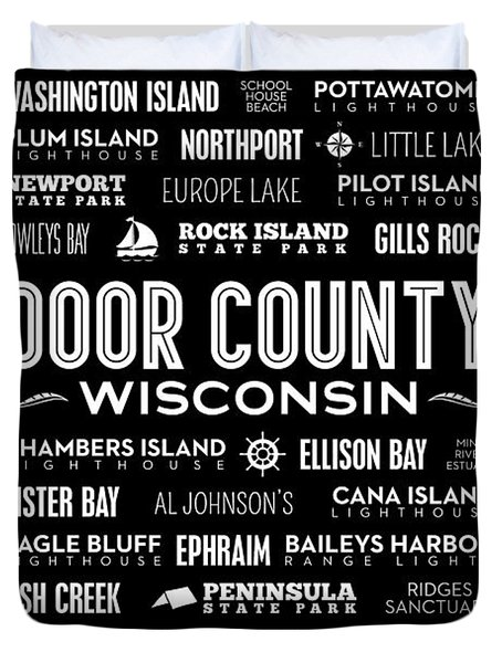 Places Of Door County On Black Duvet Cover by Christopher Arndt