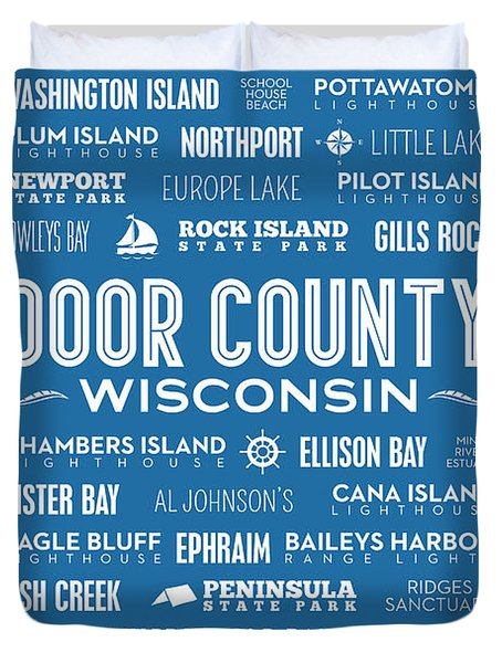 Places Of Door County On Blue Duvet Cover by Christopher Arndt