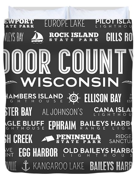 Places Of Door County On Gray Duvet Cover by Christopher Arndt