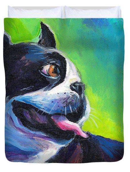 Playful Boston Terrier Duvet Cover by Svetlana Novikova