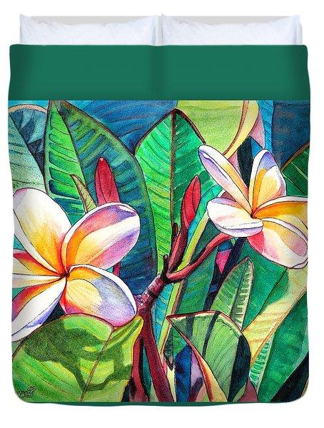 Plumeria Garden Duvet Cover by Marionette Taboniar