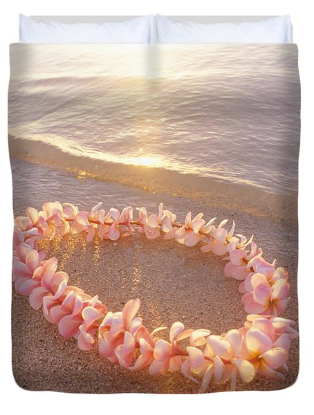 Plumeria Lei Shoreline Duvet Cover by Mary Van de Ven - Printscapes