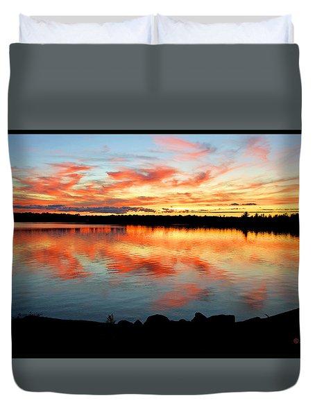 Duvet Cover featuring the photograph Pocono Mountain Pennsylvania Sunset Over A Lake by A Gurmankin