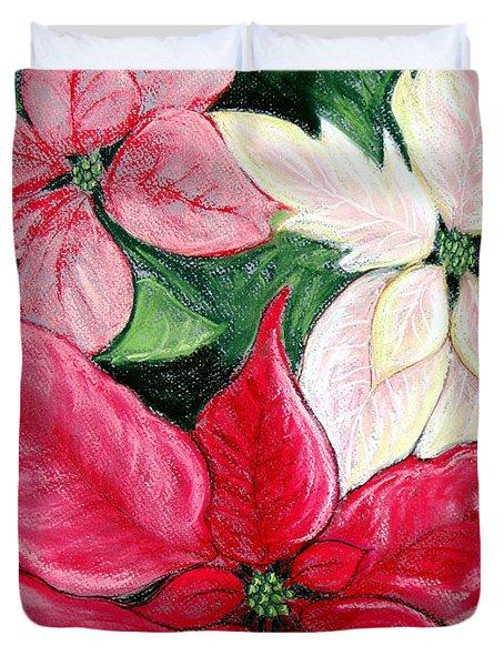 Poinsettia Pastel Duvet Cover by Nancy Mueller