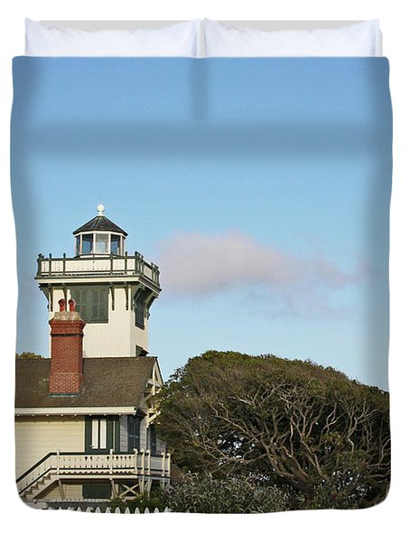 Point Fermin Light - An Elegant Victorian Style Lighthouse In Ca Duvet Cover by Christine Till