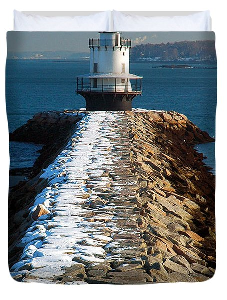Point Spring Ledge Light - Lighthouse Seascape Landscape Rocky Coast Maine Duvet Cover by Jon Holiday