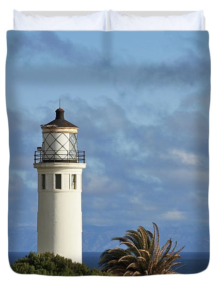 Point Vicente Lighthouse On The Cliffs Of Palos Verdes California Duvet Cover by Christine Till