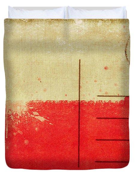 Poland flag postcard Duvet Cover by Setsiri Silapasuwanchai
