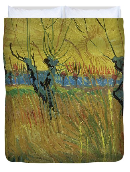 Pollarded Willows And Setting Sun Duvet Cover by Vincent Van Gogh