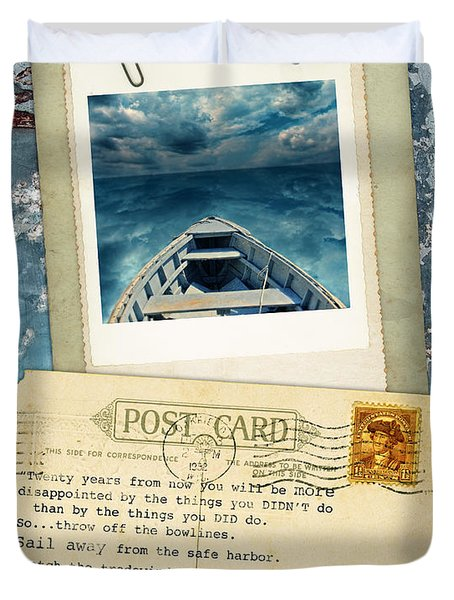 Poloroid Of Boat With Inspirational Quote Duvet Cover by Jill Battaglia