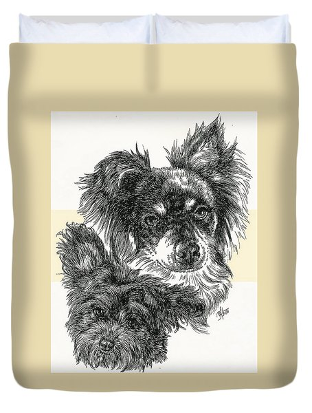 Pomapoo Father And Son Duvet Cover by Barbara Keith