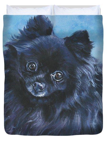 Pomeranian black Duvet Cover by Lee Ann Shepard