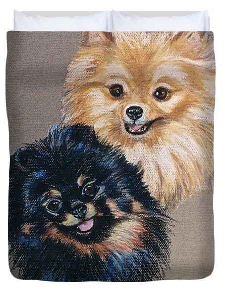 Pomeranian Pair Duvet Cover by Susan Herber
