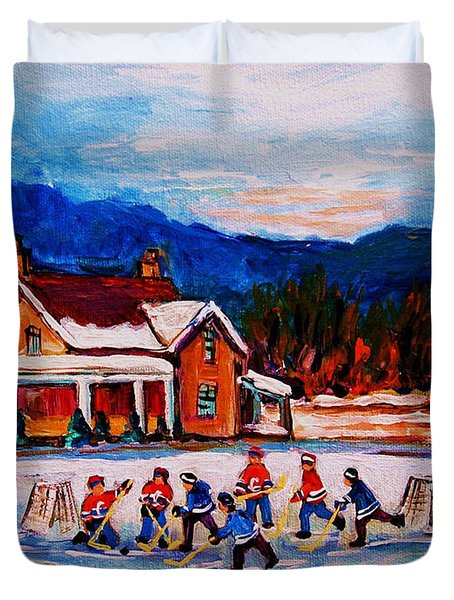 Pond Hockey Duvet Cover by Carole Spandau