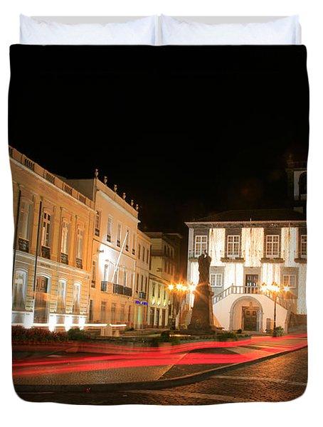 Ponta Delgada At Night Duvet Cover by Gaspar Avila
