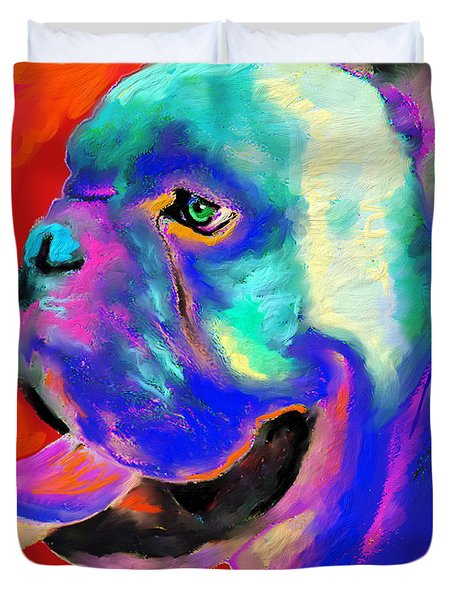 Pop Art English Bulldog painting prints Duvet Cover by Svetlana Novikova