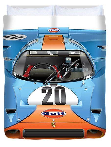 Porsche 917 Gulf On White Duvet Cover by Alain Jamar