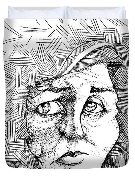 Portait Of A Woman Duvet Cover by Michelle Calkins