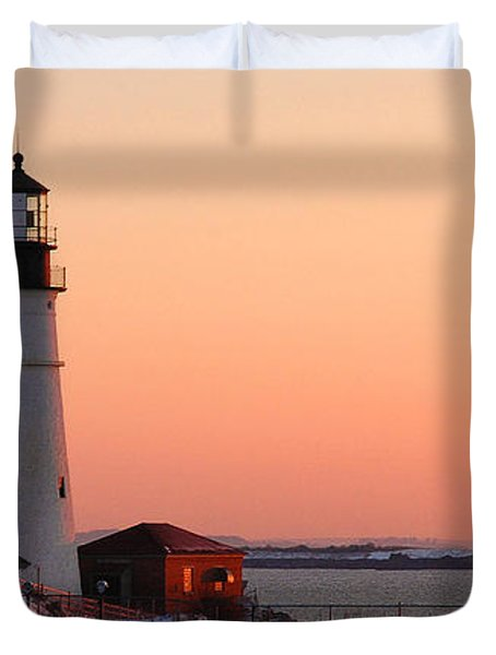 Portland Head Light At Dawn - Lighthouse Seascape Landscape Rocky Coast Maine Duvet Cover by Jon Holiday