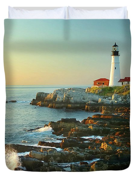Portland Head Light No. 2  Duvet Cover by Jon Holiday