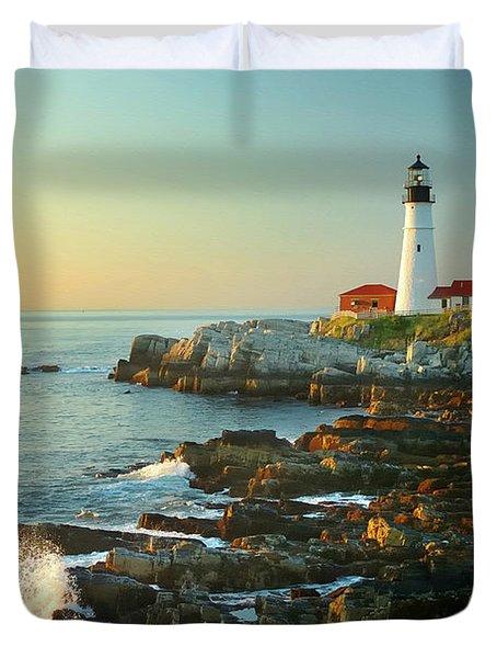 Portland Head Light No. 2  Duvet Cover by Jon Holiday