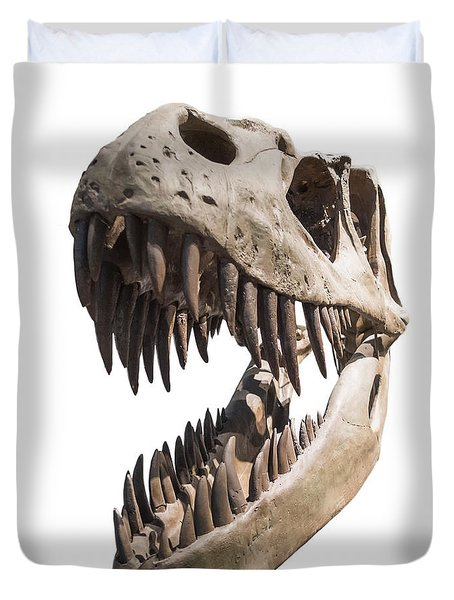 Portrait Of A Dinosaur Skeleton, Isolated On Pure White. Duvet Cover by Caio Caldas