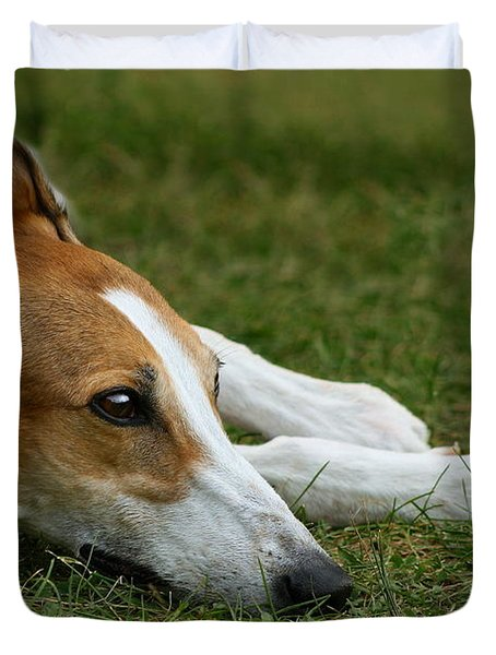 Portrait of a Greyhound - Soulful Duvet Cover by Angela Rath
