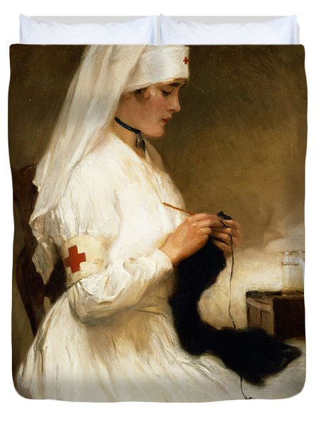 Portrait Of A Nurse From The Red Cross Duvet Cover by Gabriel Emile Niscolet