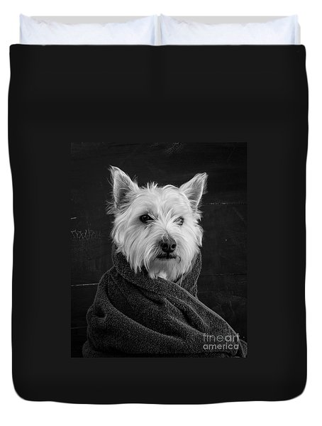 Portrait Of A Westie Dog Duvet Cover by Edward Fielding