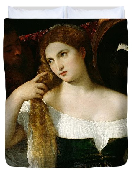 Portrait Of A Woman At Her Toilet Duvet Cover by Titian