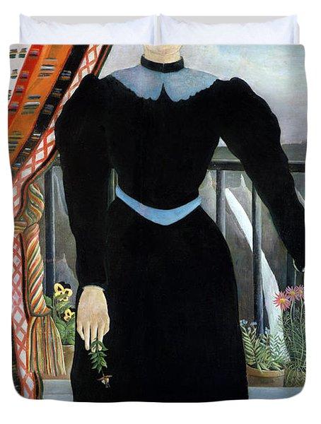 Portrait Of A Woman Duvet Cover by Henri Rousseau