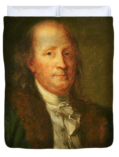 Portrait Of Benjamin Franklin Duvet Cover by George Peter Alexander Healy