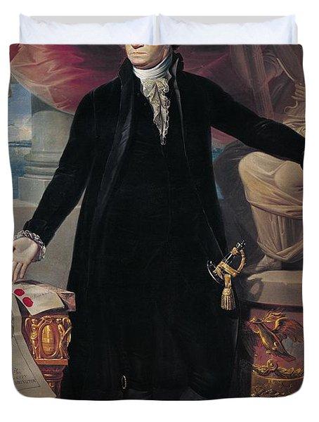 Portrait Of George Washington Duvet Cover by Joes Perovani