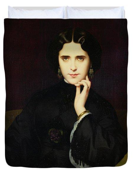 Portrait Of Jeanne De Tourbay Duvet Cover by Eugene Emmanuel Amaury-Duval