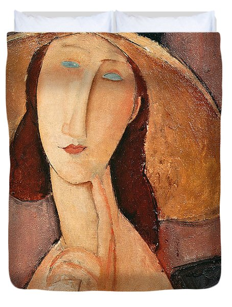 Portrait Of Jeanne Hebuterne In A Large Hat Duvet Cover by Amedeo Modigliani