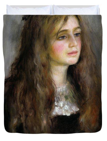 Portrait Of Julie Manet  Duvet Cover by Pierre Auguste Renoir