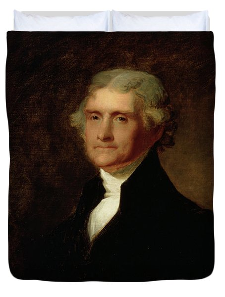 Portrait Of Thomas Jefferson Duvet Cover by Asher Brown Durand