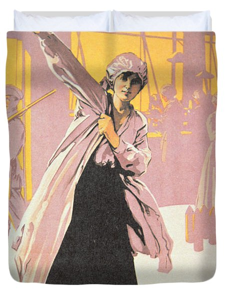 Poster Depicting Women Making Munitions  Duvet Cover by English School