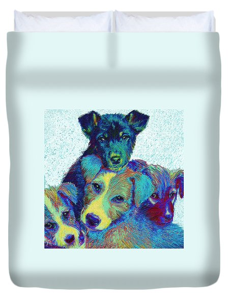 pound puppies Duvet Cover by Jane Schnetlage