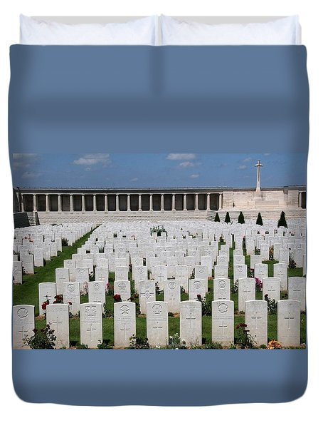 Duvet Cover featuring the photograph Pozieres British Cemetery by Travel Pics