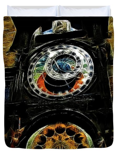 Prague Clock Duvet Cover by Joan  Minchak