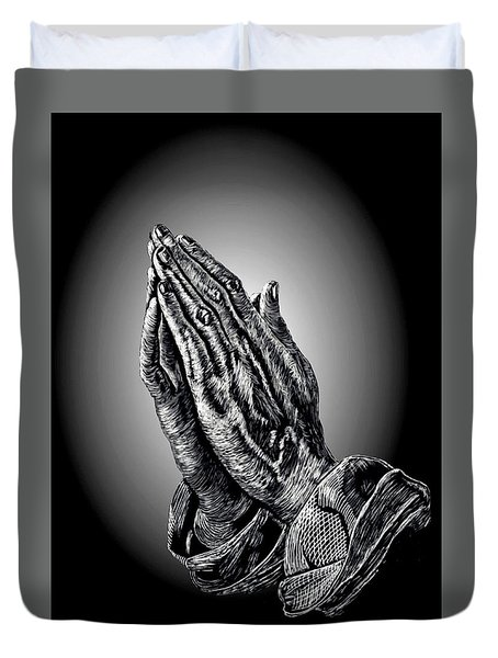 Praying Hands Duvet Cover by Ronald Chambers