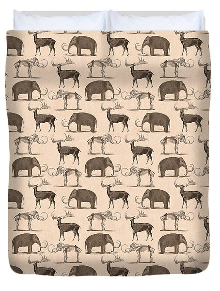 Prehistoric Animals Duvet Cover by Antique Images