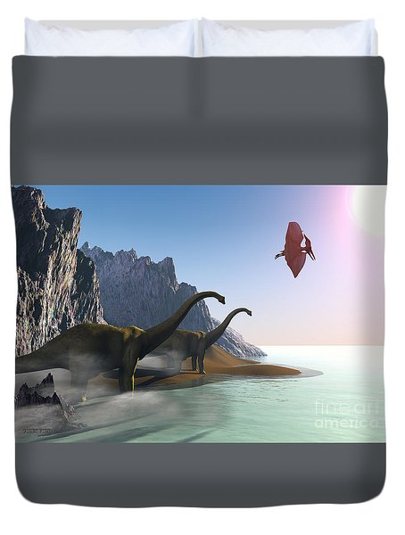 Prehistoric World Duvet Cover by Corey Ford
