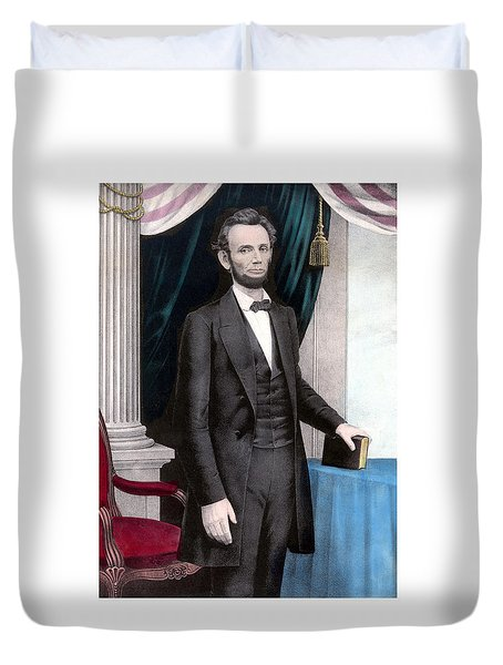 President Abraham Lincoln In Color Duvet Cover by War Is Hell Store