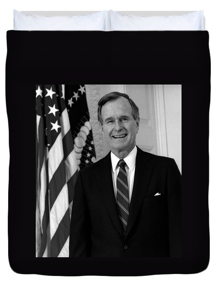 President George Bush Sr Duvet Cover by War Is Hell Store