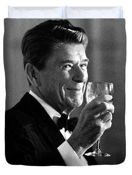 President Reagan Making A Toast Duvet Cover by War Is Hell Store