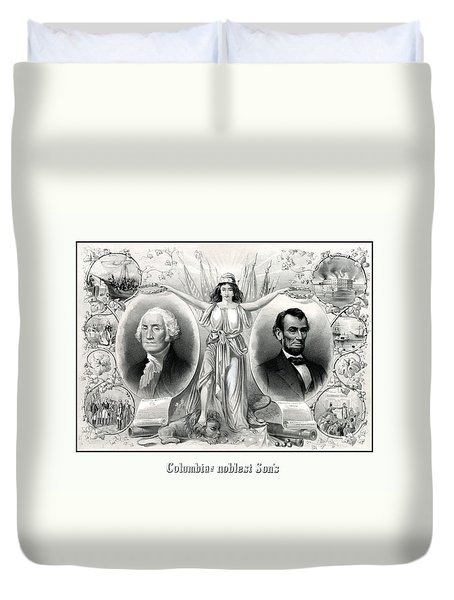 Presidents Washington And Lincoln Duvet Cover by War Is Hell Store
